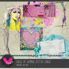 Girls of Summer Stitch Chaos by he{art} journaling available at www.digitalscrapbookingstudio.com #he{art}journaling #theStudio