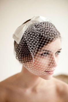 Birdcage Veil with Silk Bow