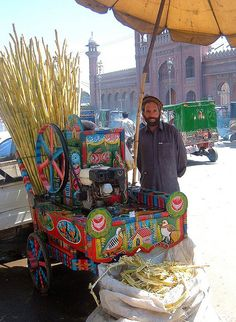 Sugar Cane drinks barrow, Peshawar, Pakistan.