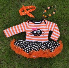 Orange Stripe Spider Tutu Onesie #boutique-outfits #dresses #halloween #new #newborn-clothing #newborn-sets #perfect-sets