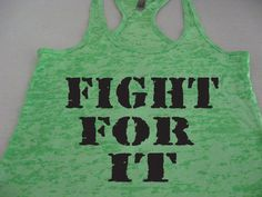 FIGHT FOR IT Womens Motivational Fitness Gym Bootcamp Kickboxing Running Burnout Tank Top on Etsy, $21.95