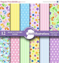 BIG SALE Unicorn digital papers Magical by AMBillustrations