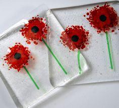 Cheerful Red Glass Poppy Coasters - Birthday,poppies, wedding, present, gift, friend, mum, anniversary, engagement, flowers, garden