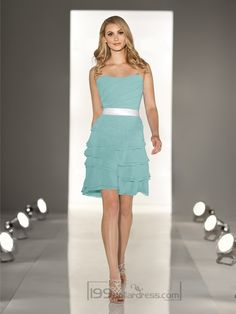 Strapless A-line Cascading Ruffled Coctail Bridesmaid Dresses with Layered Bodice