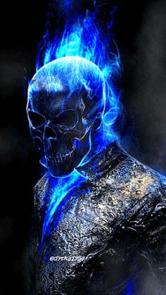 Diamond Painting Blue Skull Man Paint with Diamonds Art Crystal Craft Decor Ghost Rider Wallpaper, Skull Wallpaper, Marvel Wallpaper, Skull Pictures, Cool Pictures, Dark Fantasy Art, Dark Art, Ghost Rider Marvel, Skull Art