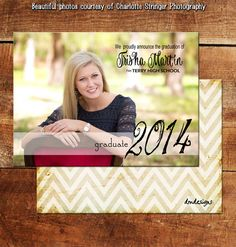 Graduation Photo Announcement Card / Grad Card / Senior High School Graduation Card / Senior 2014 /Senior 2015 / DM3017