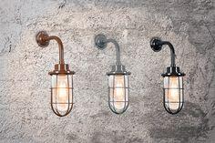 #Wandleuchte Port Sehr schöne retro Wandleuchte im industriellen Stil mit Glas. Auch bekannt als Käfig #Lampe, #Korblampe, #Fischerlampe oder #Tyrann. #Pendelleuchte #Innenbeleuchtung #Lampenundleuchten.at