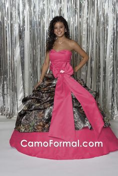 good news, Doug, is I can also get a camo wedding dress with a feminine touch of pink! Pink Camo Wedding, Camo Wedding Dresses, Wedding Dress Cake, Wedding Gowns, Prom Dresses, Formal Dresses, Wedding Themes, Wedding Ideas, Tulle Ball Gown