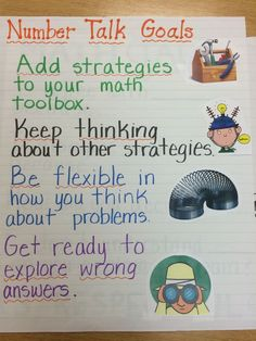 Number Talks Student Goals Anchor Chart