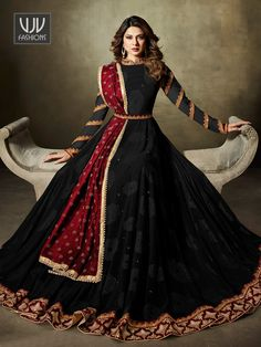 VJV Fashions presenting Jennifer Winget Black Velvet Designer Anarkali Suit shop from our biggest collection of designer salwar suit, party wear salwar suit Kurti Designs Party Wear, Lehenga Designs, Dress Designs, Party Wear Dresses, Dress Outfits, Fashion Dresses, Pakistani Dress Design, Pakistani Outfits, Choli Dress