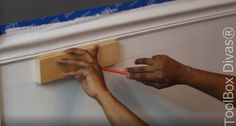 How to Install Picture Frame Moulding Wainscoting - ToolBox Divas Picture Frame Wainscoting, Wainscoting Height, Black Wainscoting, Wainscoting Nursery, Dining Room Wainscoting, Wainscoting Panels, Picture Frame Molding, Picture Frames, Wainscoting Ideas