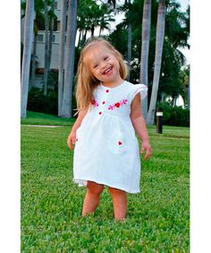 White & Red Valentina Dress - Infant, Toddler & Girls by Little Cotton Dress