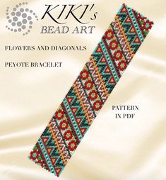 This is an own designed pattern in PDF format, downloadable directly from Etsy. These patterns are for the Flowers and diagonals peyote bracelet cuff which is created in even single drop peyote. The pdf file includes: 1. a large picture of the pattern 2. a large, detailed graph of the