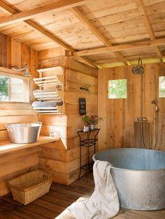 Galvanized steel shower tub.