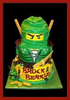 Children's Birthday Cakes - Lloyd the Green Ninjago 6th Birthday Cakes, Turtle Birthday Parties, Batman Birthday, Lego Birthday Party, Ninja Lego Cake, Lego Ninjago Cake, Ninjago Party, Cupcakes, Cupcake Cakes
