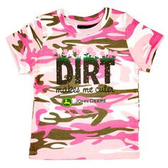 John Deere Kids Pink Camo Dirt Makes Me Cuter T-Shirts|