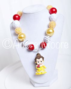 Bell Necklace Beauty and the Beast Disney Kids Necklace Chunky Necklace Chunky Bead Necklace Child Girls Necklace Kids Necklace, Girls Necklaces, Opal Necklace, Boho Necklace, Necklace Ideas, Chunky Bead Necklaces, Chunky Jewelry, Chunky Beads, Beaded Jewelry