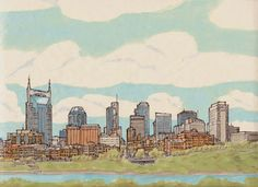 Nashville Skylines one is starry night Artwork by Anna B. Webb...but in Starry Night style
