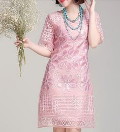 Pink Beads Flowers Silk Dress-zeniche.com SKU aa0077