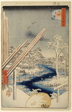 Hiroshige - One Hundred Famous Views of Edo - 106. Fukagawa Lumberyards