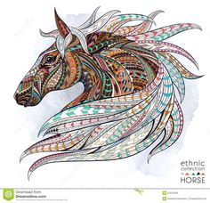 Patterned Head Of The Horse Stock Vector - Image: 57610320