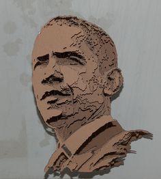 Presidente Obama cartón Paper Sculpture