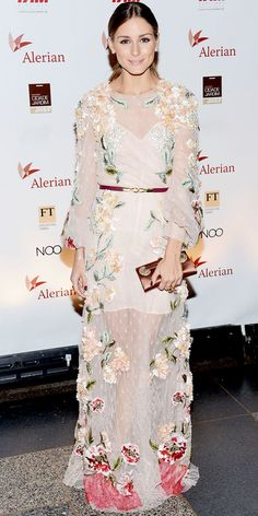 At the Brazil Foundation's gala, Palermo wowed in an embroidered Valentino gown. Pearl studs, a satin clutch and gold cocktail ring finished the look.