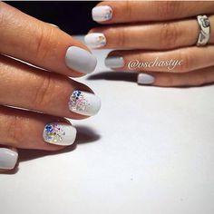 brilliant nails, Evening dress nails, Ideas of evening nails, Nails ideas 2017, Nails with shiny dust, Party nails, Plain nails, White nails ideas
