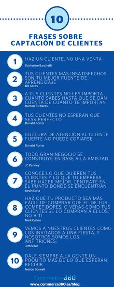 10 frases sobre captación de clientes. Infografía en español. #CommunityManager