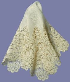 A lace handkerchief carried by Princess Mary of Teck (later Queen Mary) on her wedding day on the 6th of July 1893.