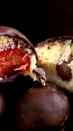Recipe with video instructions: What's not to love about sweet coconut and fruit covered in chocolate? Tasty Videos, Food Videos, Food Platters, Football Food, Lunch Snacks, Diy Food, Sweet Recipes, Food Porn, Food And Drink