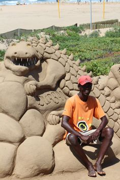 Sand sculptures on Durban's beachfront are income generating for locals. Often the sand sculptures are topical in nature 'save our rhinos' for instance. Kwazulu Natal, Sand Sculptures, Indian Heritage, Rhinos, Game Reserve, The Province, Vacation Packages, Africa Travel, Where The Heart Is