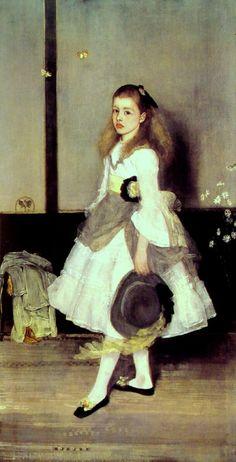 James Abbott McNeill Whistler, Harmonie in grijs en groen - Juffrouw Cicely Alexander (Engelse titel: 'Harmony in Gray and Green - Miss Cicely Alexander'), 1872-73, olieverf op doek, 190 x 98 cm, Tate Modern, Londen
