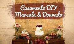 Decoração de Casamento DIY Marsala e Dourado