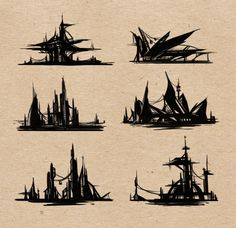Environment Silhouettes by ~giselleukardi on deviantART