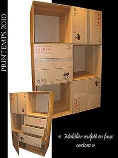Meuble en bois - imitation carton ! - par Atelier Demé Ebeniste