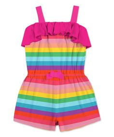 17f5d160ffaf Sunshine Swing Red   Yellow Stripe Ruffle Romper - Toddler   Girls