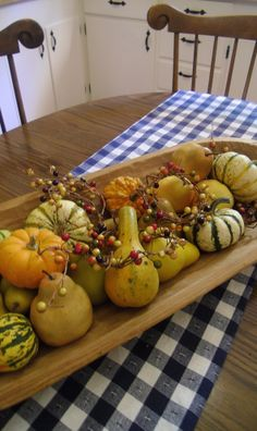 Dough bowl filled with gourds and pears. Have this bowl already...it was my grandmothers.