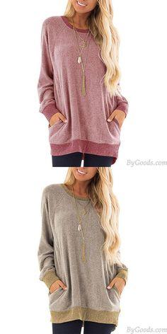 Ocio Manga larga Cuello redondo Pullover Sudadera Camiseta Tops Gran abrigo de mujer suelto #sweater