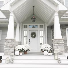 36 Pretty Farmhouse Front Porch Steps Design Ideas - Home: Living color Dream House Exterior, Exterior House Colors, Exterior Design, Stone On House Exterior, Stone Front House, Stone House Exteriors, White Siding House, Black Trim Exterior House, Front View Of House