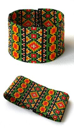 Colorful beadwoven bracelet ethnic style beadwork by Anabel27shop