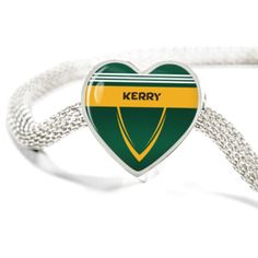 Beautiful County Kerry heart bracelet. Charms fit on Pandora bracelets as well so you can save on the bracelet price :) Perfect for GAA fans (hurling, Gaelic, camogie)