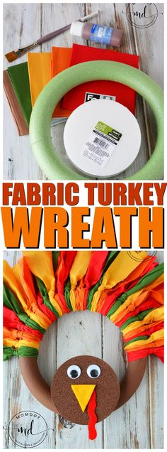 Turkey Wreath : How to make a Fabric Turkey Wreath with Slip Knots (not tulle) that is colorful and gorgeous for fall decorations, step by step tutorial Thanksgiving wreath Diy Fall Wreath, Wreath Crafts, Wreath Ideas, Fall Crafts For Kids, Crafts To Do, Diy Crafts, Recycled Crafts, Kids Diy, Decor Crafts