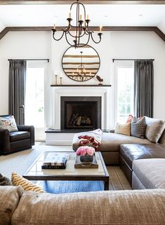 Altadena Modern Farmhouse New Construction Rustic Fireplaces, Modern Fireplace, Fireplace Design, Glam Living Room, Living Spaces, Colonial Style Homes, White Oak Floors, Rustic Design, Modern Farmhouse