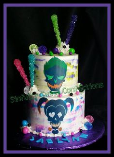 Watercolor Buttercream Suicide Squad birthday cake