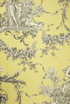 Biltmore Wallpaper An elegant toile wallpaper with urns and cherubs in charcoal on a yellow background.