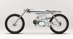 EVE by Bandit 9 Motorcycles - An incredible custom. This really is a small motorcycle, not a motorized bicycle. Looks to have a mid- Honda engine of between 50 and displacement. Honda Cub, Concept Motorcycles, Custom Motorcycles, Custom Bikes, Vespa, Ducati, Bike Motor, Side Car, Bike Engine
