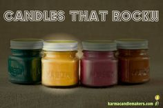 Karma Candle Makers hand crafts awesome and unique soy candles that ROCK!!  Check out our various collections and containers...we even make cubes for warmers and sell fragrance refills! www.karmacandlemakers.com