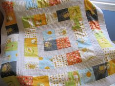 Free PDF for Storytime Squares Quilt. Uses just 8 fat quarters and 2 yards of a solid. Perfect for anyone making charity quilts for kids. Quilt Block Patterns, Quilt Blocks, Fat Quarters, Quilting Projects, Sewing Projects, Quilting Ideas, Sewing Ideas, Baby Boy Quilts, Children's Quilts