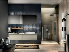 Lacquered wall-mounted vanity unit with mirror REGOLO 323 Regolo Collection by Edoné by Agorà Group